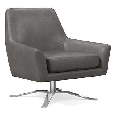 Lucas Swivel Base Chair, Ludlow Leather, Gray Smoke, Polished Nickel - West Elm