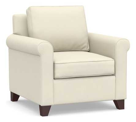 Cameron Roll Arm Upholstered Armchair, Polyester Wrapped Cushions, Park Weave Ivory - Pottery Barn