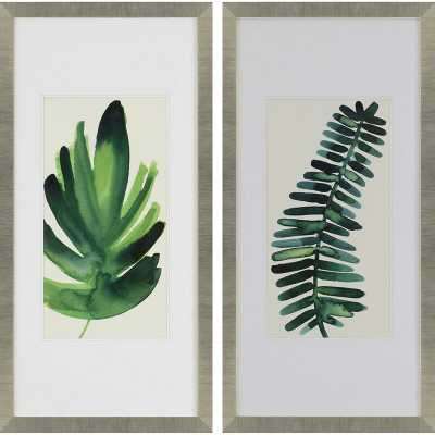 """Paragon """"Palm Leaves I"""" 2 Piece Picture Frame Wall Art Set - Perigold"""