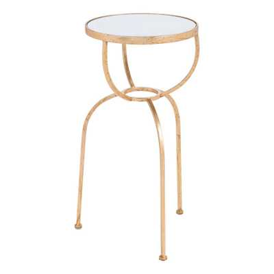 ZUO Hera Gold Side Table, Mirror & Gold - Home Depot