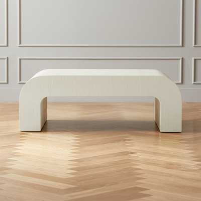 Horseshoe White Lacquered Linen Coffee Table - CB2