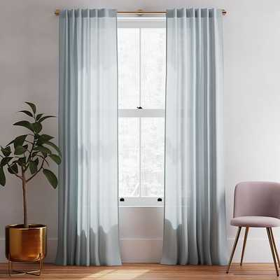 "Sheer European Flax Linen Curtain, Washed Blue Gemstone, 48""x96"" - West Elm"