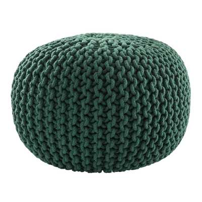 Spectrum Pouf Textured Green Round Pouf - Collective Weavers