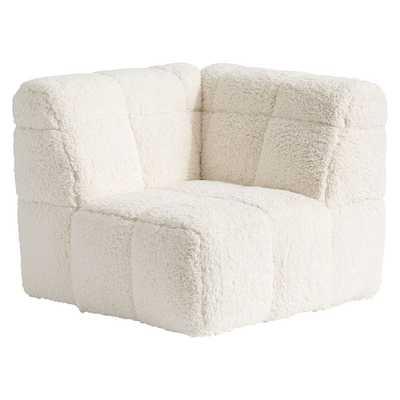 Baldwin Lounge Corner Chair, Sherpa Ivory Faux-Fur, QS EXEL - Pottery Barn Teen