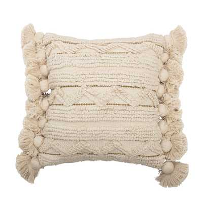 Off-White Cotton Looped Pillow with Gold Metallic Thread Accents, Tassels & Solid Off-White Back - Moss & Wilder
