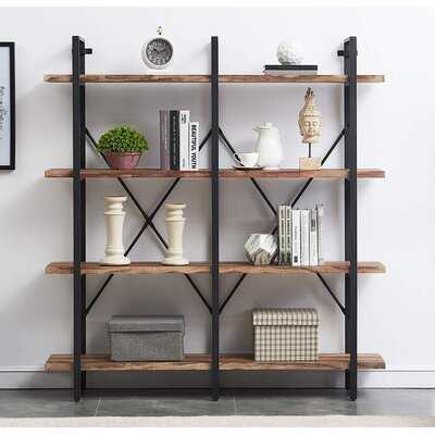 Bookshelf, Double Wide 4-tier Open Bookcase Vintage Industrial Large Shelves, Wood And Metal Etagere Bookshelves, For Home Decor Display, Office Furniture - Wayfair
