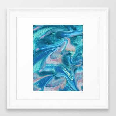 Gemstone [1]: A Melted Abstract Watercolor Design In Blue Pink And Green By Alyssa Hamilton Art Framed Art Print by Alyssa Hamilton Art - Scoop White - X-Small-12x12 - Society6