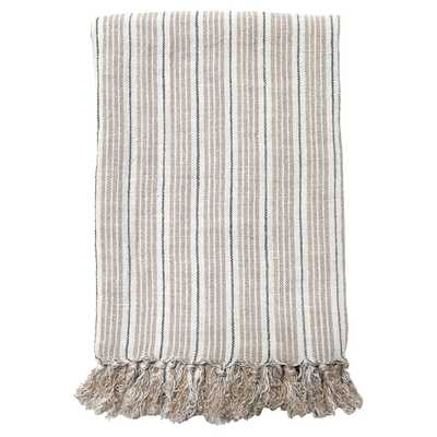 Pom Pom French Country Newport Throw - Midnight Natural - Kathy Kuo Home