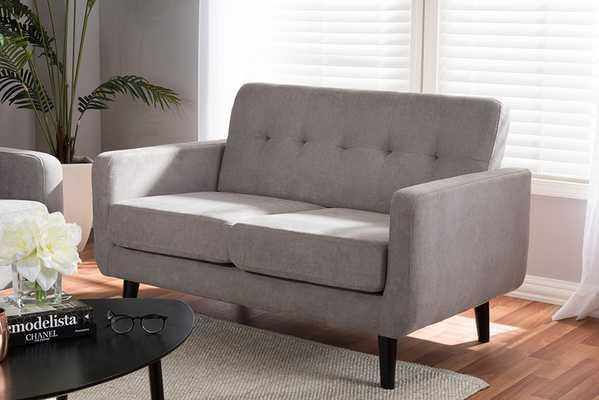Baxton Studio Carina Mid-Century Modern Light Grey Fabric Upholstered Loveseat - Lark Interiors