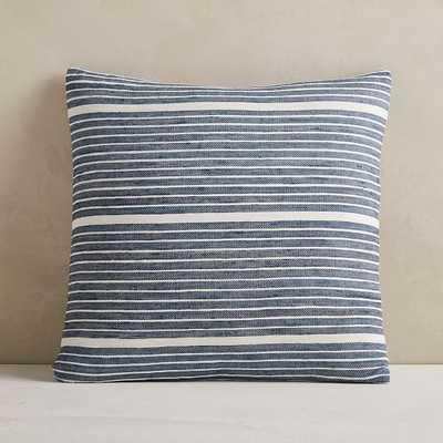 "Silk Mini Stripe Pillow Cover, 20""x20"", Midnight - West Elm"