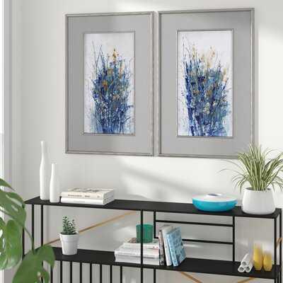 'Indigo Florals' by Tim OToole - 2 Piece Picture Frame Print Set on Paper - Wayfair