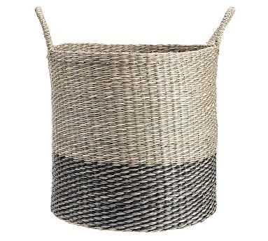 Lisbon Two-Tone Tote Basket, Natural/Black, Large - Pottery Barn