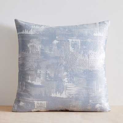 "Painterly Brocade Pillow Cover, 20""x20"", Silver Blue - West Elm"