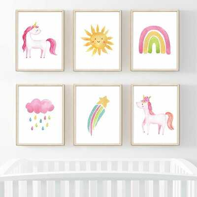Darleene Fun Unicorn Rainbow Sun Shooting Stars 6-Piece Set Paper Print - Wayfair