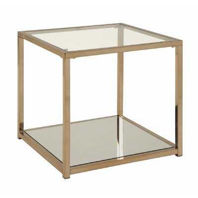 Dale Glass Top End Table with Storage - Wayfair