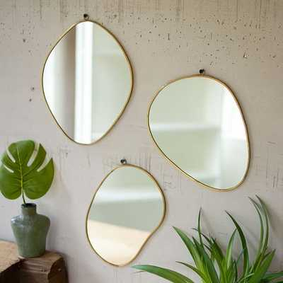 Brass Framed Organic Shaped Mirrors, Set Of 3, Gold - West Elm