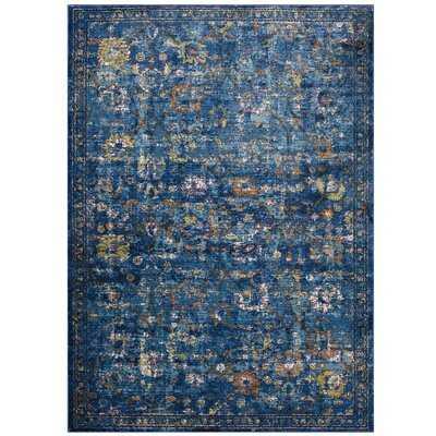 Heitzman Floral Blue Area Rug - Wayfair
