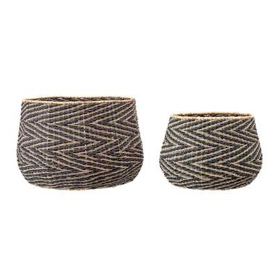 Handwoven Black & Natural Chevron Patterned Seagrass Baskets (Set of 2 Sizes) - Moss & Wilder