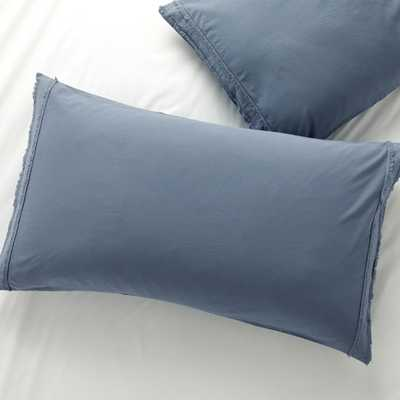 Washed Organic Cotton Blue King Pillow Sham - Crate and Barrel