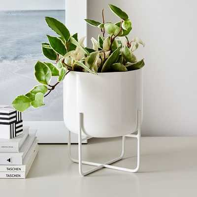 Spun Metal Tabletop Planters, Medium, White - West Elm