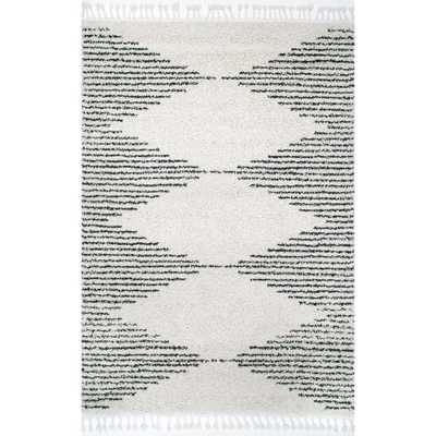 nuLOOM Bria Moroccan Diamond Shag Off-White 4 ft. x 6 ft. Oval Rug, Beige - Home Depot