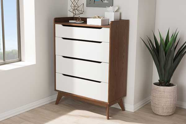 Baxton Studio Brighton Mid-Century Modern White and Walnut Wood 4-Drawer Storage Chest - Lark Interiors