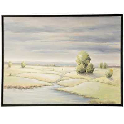 StyleCraft Field Brook Landscape Black Canvas, Wood Framed Wall Art, Green - Home Depot