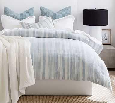 Hawthorn Stripe Cotton Duvet Cover, Full/Queen, Blue - Pottery Barn