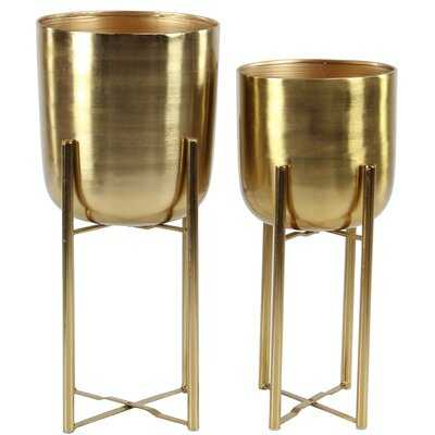 Contemporary 2-Piece Metal Pot Planter Set - AllModern