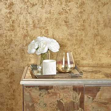 Peel & Stick Distressed Gold Leaf Wall Paper, Gold - West Elm