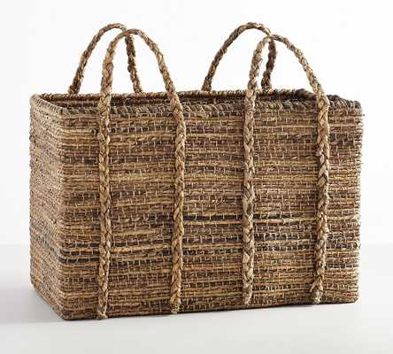Wynne Rectangular Coil Abaca Basket With Handle - Pottery Barn
