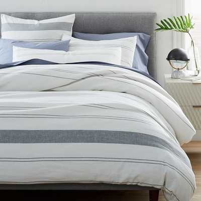 Hemp Cotton Serene Stripes Duvet & King Sham, Undyed Natural & Misty Gray, King - West Elm