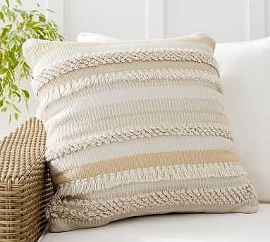 "Misty Eco-Friendly Striped Indoor/Outdoor Pillow , 22 x 22"", Ivory Multi - Pottery Barn"