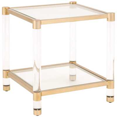 """Nouveau 22"""" Wide Tempered Glass and Brass 1-Shelf End Table - Style # 86N13 - Lamps Plus"""