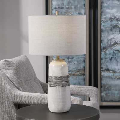 Uttermost Comanche Off-White and Brown Ceramic Table Lamp - Style # 87N13 - Lamps Plus