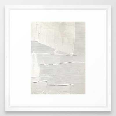 Relief [1]: An Abstract, Textured Piece In White By Alyssa Hamilton Art Framed Art Print by Alyssa Hamilton Art - Vector White - MEDIUM (Gallery)-22x22 - Society6
