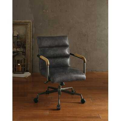 Hortencia Genuine Leather Conference Chair in Antique Ebony - Birch Lane