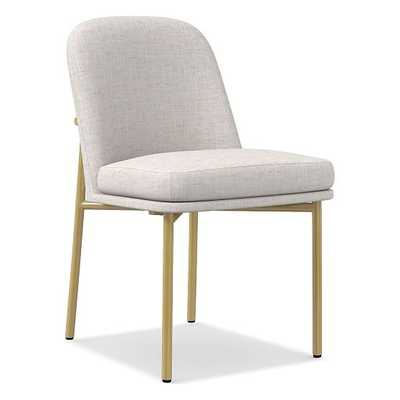 Jack Metal Frame Dining Chair, Performance Coastal Linen, Stone, White (Heathered), Light Bronze - West Elm