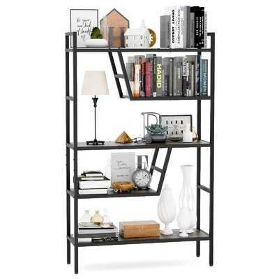 5-Tier Bookshelf Wood Bookcase With Metal Frame Adjustable To 46 Different Structures Multifunction Book Shelf Organizer Storage Display Shelves Russtic Wood And Metal Shelving Unit - Wayfair