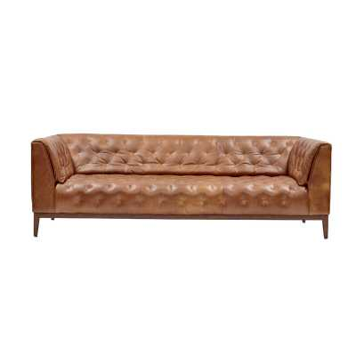 One For Victory Genuine Leather Chesterfield 89'' Tuxedo Arm Sofa - Perigold