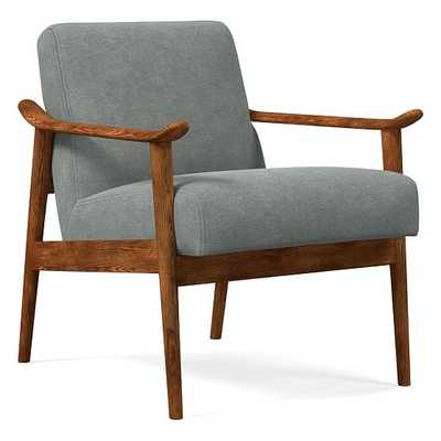 Midcentury Show Wood Chair, Poly, Distressed Velvet, Mineral Gray, Pecan - West Elm