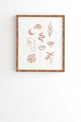 "Line Art Pattern by Emanuela Carratoni - Framed Wall Art Bamboo 11"" x 13"" - Wander Print Co."