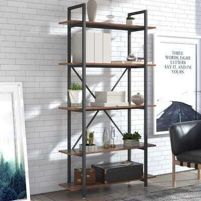 """Lanagan 69.42"""" H x 39"""" W Metal Etagere Bookcase - Wayfair"""