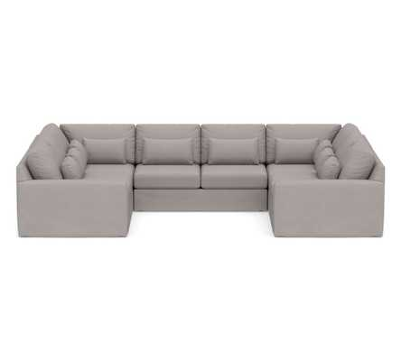 Big Sur Square Arm Slipcovered Deep Seat U-Loveseat Sectional, Down Blend Wrapped Cushions, Belgian Linen Light Gray - Pottery Barn