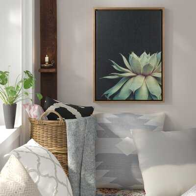 'Sylvie Gold Succulent 8' - Picture Frame Photograph Print on Canvas - Wayfair