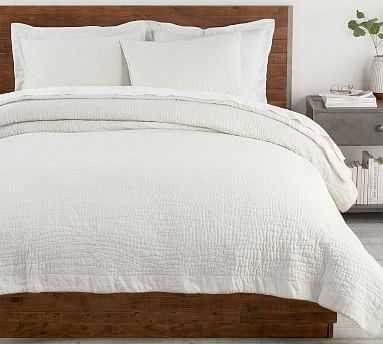 Classic Ivory Belgian Flax Linen Hand Stitched Quilt, King/Cal. King - Pottery Barn