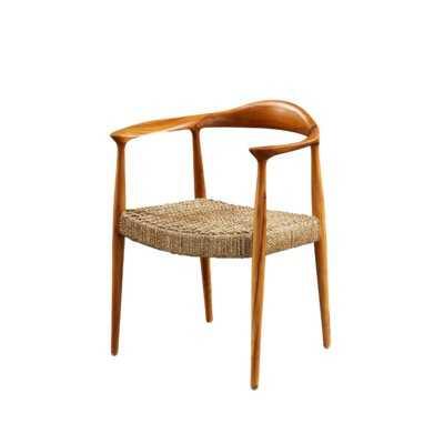 Bayne Solid Wood Wishbone Arm Chair in Brown - Wayfair