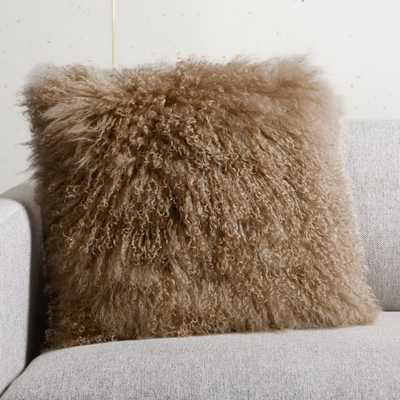"""16"""" Mauve Mongolian Pillow with Feather-Down Insert - CB2"""