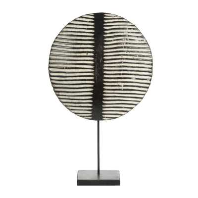 Cole & Grey Small Round Hand-Carved Black & White Striped Wood Tikar Shield On Metal Display Stand - Perigold