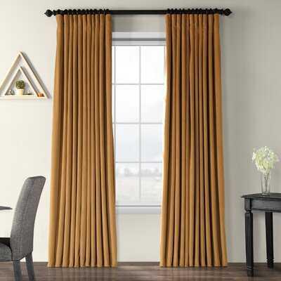 Signature Blackout Double Wide Velvet Rod Pocket  Single Curtain Panel - Birch Lane